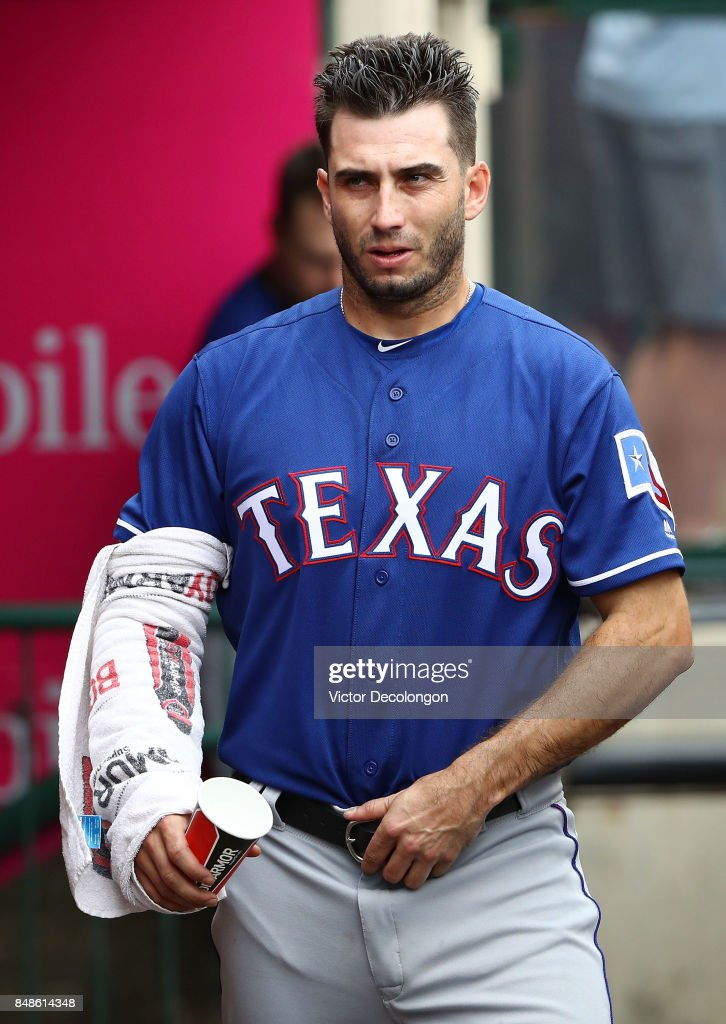 Pitcher Miguel Gonzalez #36 of the Texas Rangers walks in the dugout during the fourth inning of the MLB game against the Los Angeles Angels of Anaheim at Angel Stadium of Anaheim on September 17, 2017 in Anaheim, California. The Rangers defeated the Angels 4-2.