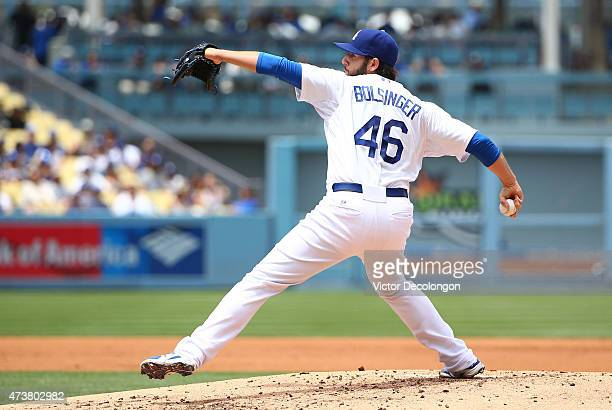 Pitcher Mike Bolsinger of the Los Angeles Dodgers pitches in the second inning during the MLB game against the Colorado Rockies at Dodger Stadium on...