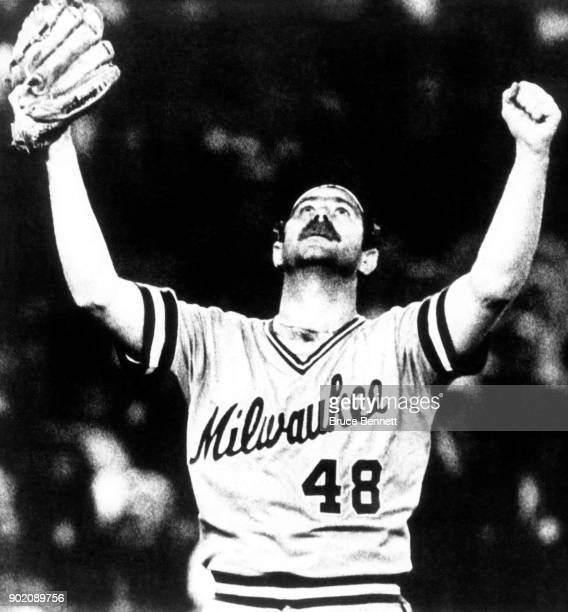 Pitcher Mike Caldwell of the Milwaukee Brewers raises his arms in victory in Game 1 of the 1982 World Series against the St Louis Cardinals on...
