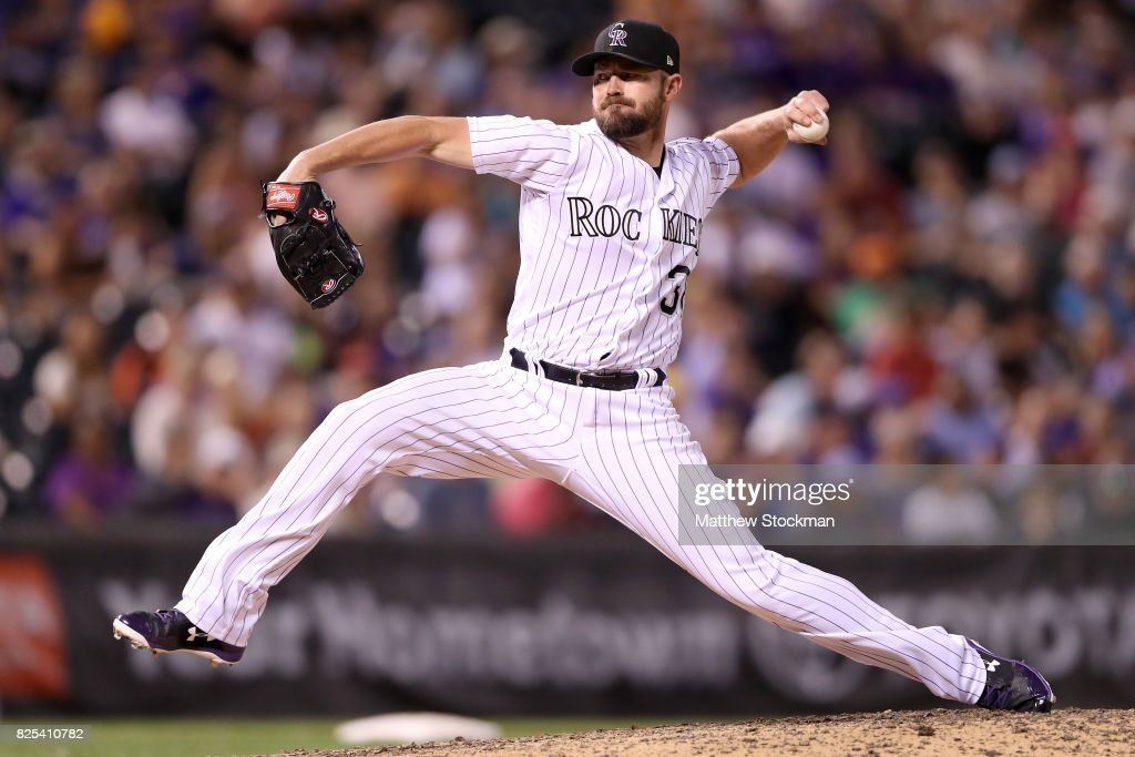 Pitcher Mike Dunn #38 of the Colorado Rockies throws in the ninth inning against the New York Mets at Coors Field on August 1, 2017 in Denver, Colorado.