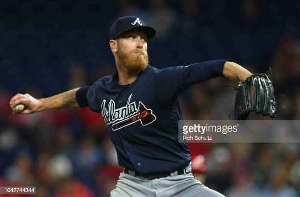 Pitcher Mike Foltynewicz of the Atlanta Braves delivers a pitch against of the Philadelphia Phillies during the fourth inning of a game at Citizens...