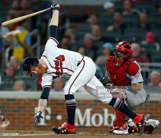 Pitcher Mike Foltynewicz of the Atlanta Braves swings at a third strike in the second inning during the game against the St Louis Cardinals at...