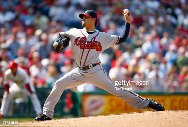 Pitcher Mike Gonzalez the Atlanta Braves pitches against the Philadelphia Phillies during a Opening Day game on April 2 2007 at Citizens Bank Park in...