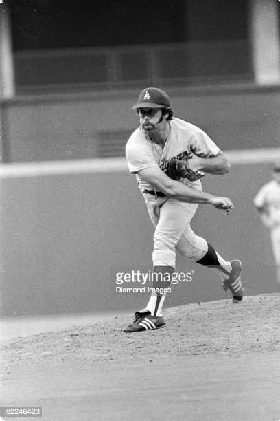 Pitcher Mike Marshall of the Los Angeles Dodgers delivers a pitch during a 1974 game against the Cincinnati Reds at Riverfront Stadium in Cincinnati...