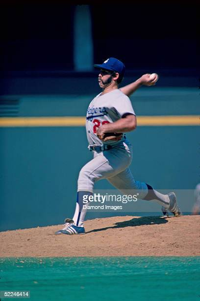 Pitcher Mike Marshall of the Los Angeles Dodgers pitches during a 1974 game against the Cincinnati Reds at Riverfront Stadium in Cincinnati Ohio