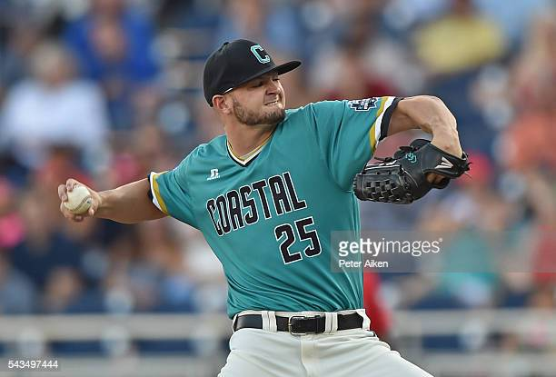 Pitcher Mike Morrison of the Coastal Carolina Chanticleers delivers a pitch against the Arizona Wildcats in the first inning during game two of the...