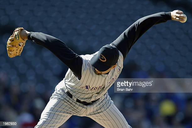 Pitcher Mike Myers of the Arizona Diamondbacks delivers a sidewinder pitch during the game against the Colorado Rockies at Coors Field on April 6...