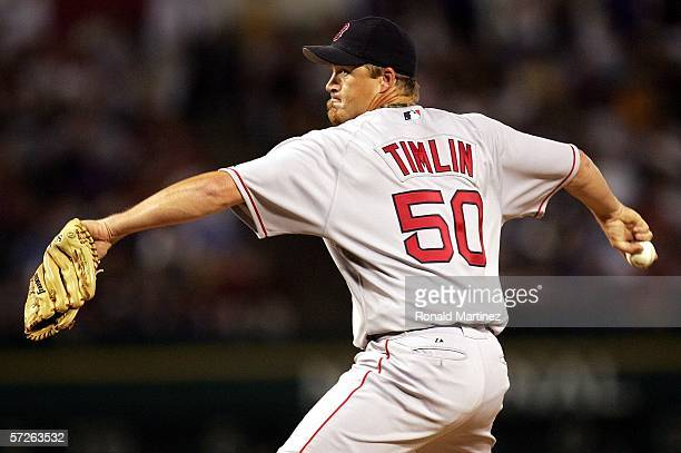 Pitcher Mike Timlin of the Boston Red Sox delivers a pitch against the Texas Rangers on April 5 2006 at Ameriquest Field in Arlington Texas