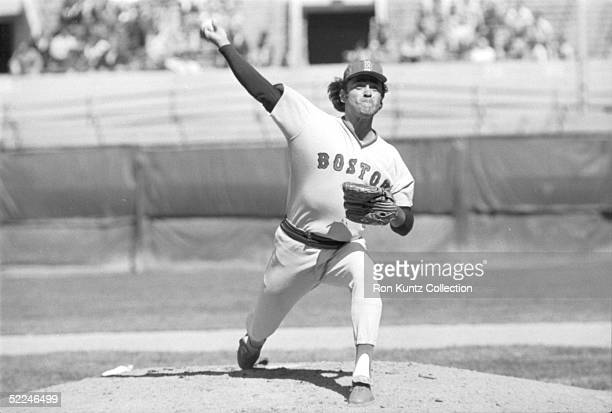 Pitcher Mike Torrez of the Boston Red Sox delivers a pitch during today's game against the Cleveland Indians at Municipal Stadium in Cleveland Ohio