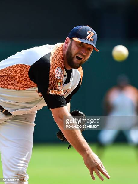 Pitcher Mitch Lively of Aguilas del Zulia from Venezuela throws against Criollos de Caguas of Puerto Rico during the Caribbean Baseball Series at the...