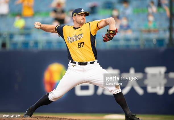 Pitcher Mitch Lively of CTBC Brothers pitching at the bottom of the 5th inning during the CPBL game between Fubon Guardians and CTBC Brothers at the...