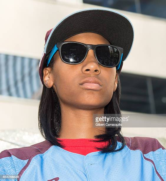 Pitcher Mo'ne Davis of Philadelphia Little League Baseball Team Taney Dragons attends the parade celebrating the team on August 27, 2014 in downtown...