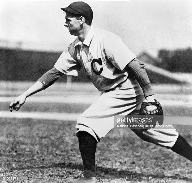 Pitcher Mordecai Brown of the St Louis Cardinals pitches for an action portrait 'Three Fingered' Brown played for the Cards in 1903 As a youth he...