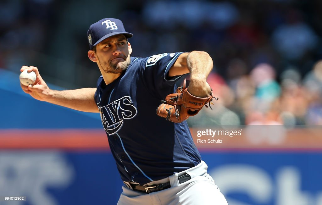Pitcher Nathan Eovaldi #24 of the Tampa Bay Rays delivers a pitch against the New York Mets during the first inning of a game at Citi Field on July 8, 2018 in the Flushing neighborhood of the Queens borough of New York City. The Rays defeated the Mets 9-0.
