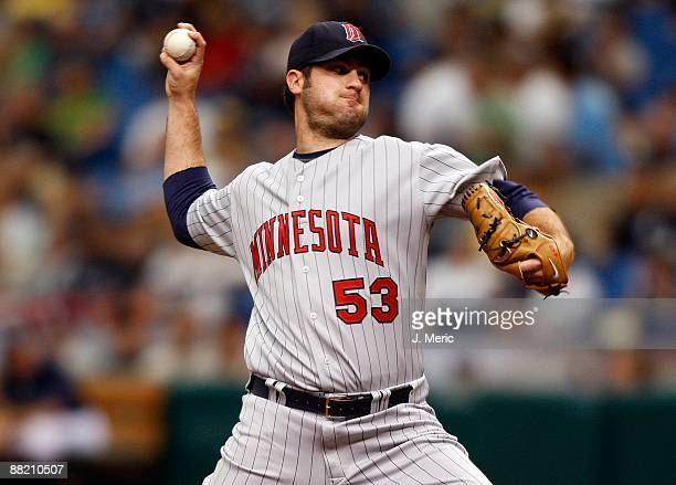 Pitcher Nick Blackburn of the Minnesota Twins pitches against the Tampa Bay Rays during the game at Tropicana Field on May 31 2009 in St Petersburg...