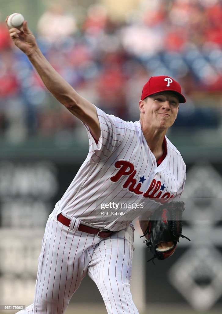 Pitcher Nick Pivetta #43 of the Philadelphia Phillies delivers a pitch against the Washington Nationals during the first inning of a game at Citizens Bank Park on June 29, 2018 in Philadelphia, Pennsylvania.