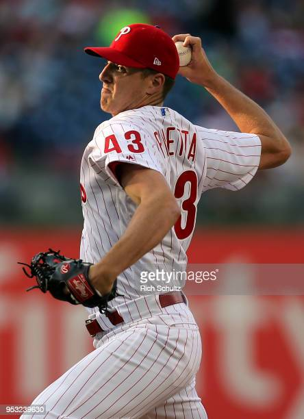 Pitcher Nick Pivetta of the Philadelphia Phillies in action against the Atlanta Braves during a game at Citizens Bank Park on April 28 2018 in...