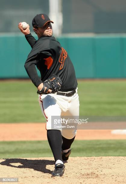 Pitcher Noah Lowry of the San Francisco Giants throws a pitch during the game with the Texas Rangers on March 3 2008 at Scottsdale Stadium in...