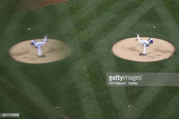 Pitcher Noah Syndergaard New York Mets and his reflection pitching during the Miami Marlins Vs New York Mets MLB regular season ball game at Citi...
