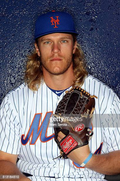 Pitcher Noah Syndergaard poses for photos during media day at Traditions Field on March 1 2016 in Port St Lucie Florida