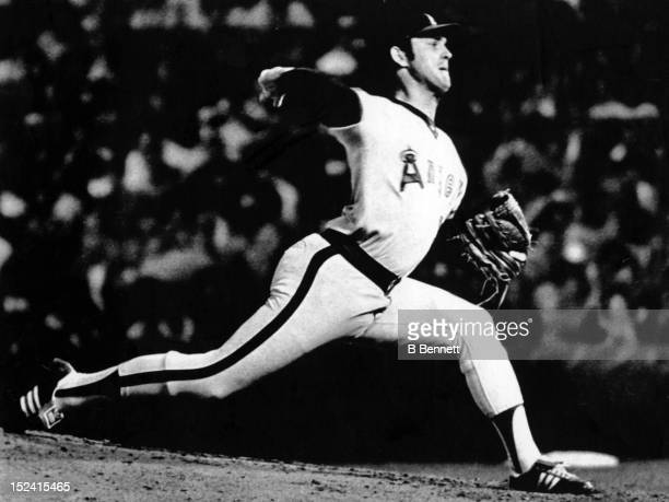 Pitcher Nolan Ryan of the California Angels pitches during Game 1 of the 1979 American League Division Series against the Baltimore Orioles on...