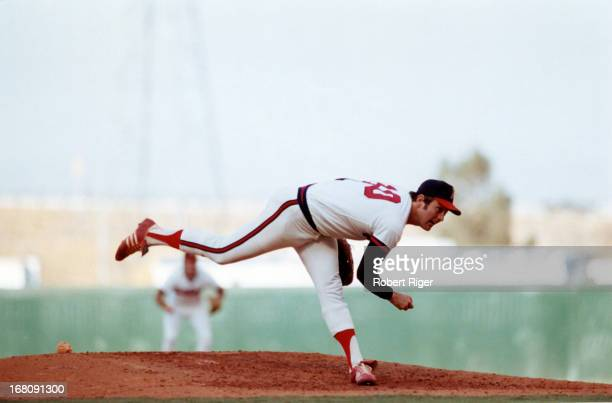 Pitcher Nolan Ryan of the California Angels throws the pitch during an MLB game circa 1973 at Angel Stadium in Anaheim California
