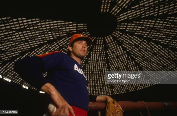 Pitcher Nolan Ryan of the Houston Astros poses for the camera signed with his hometown Houston Astros after being a free agent at the Astrodome on...