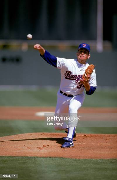 Pitcher Nolan Ryan of the Texas Rangers delivers a pitch during a game circa 1989-1993.