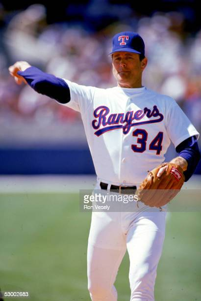 Pitcher Nolan Ryan of the Texas Rangers delivers a pitch during a game circa 19891993