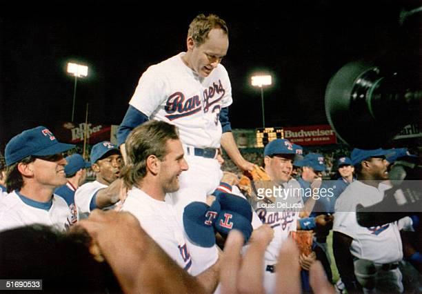 Pitcher Nolan Ryan of the Texas Rangers is carried off the field by his teammates, after Ryan's seventh no-hitter of his carrer against the Toronto...