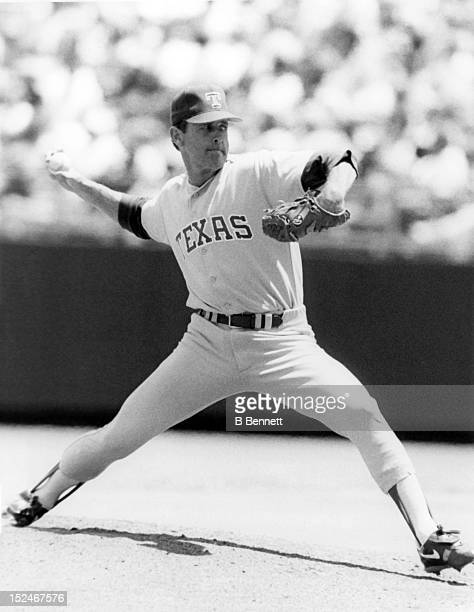 Pitcher Nolan Ryan of the Texas Rangers pitches during an MLB game circa 1993