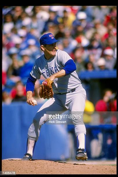 Pitcher Nolan Ryan of the Texas Rangers winds up for the pitch Mandatory Credit Rick Stewart /Allsport