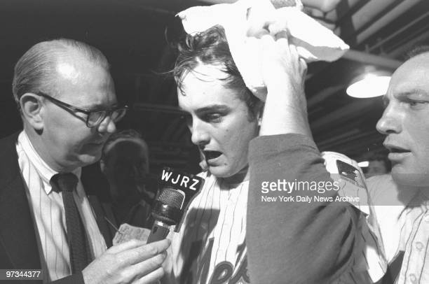 Pitcher Nolan Ryan who won in relief sops up champagne and tells 'em how he did it after the third game against the Atlanta Braves at Shea made the...