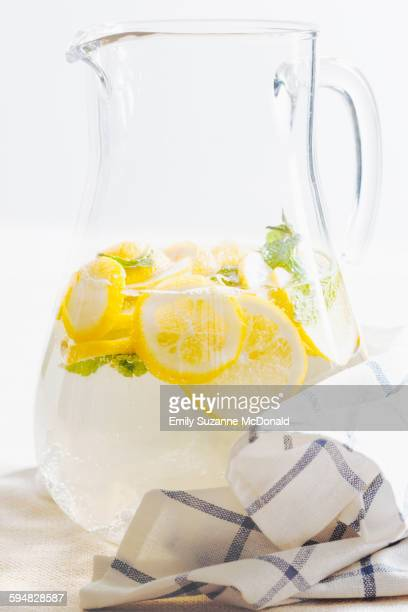 Pitcher of herbal lemon water