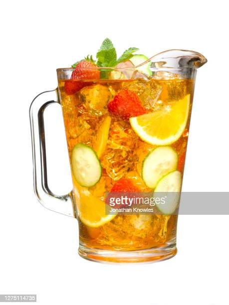 pitcher of iced tea and fruit - mint leaf culinary stock pictures, royalty-free photos & images