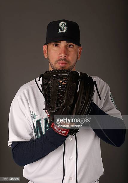 Pitcher Oliver Perez of the Seattle Mariners poses for a portrait during spring training photo day at Peoria Stadium on February 19 2013 in Peoria...