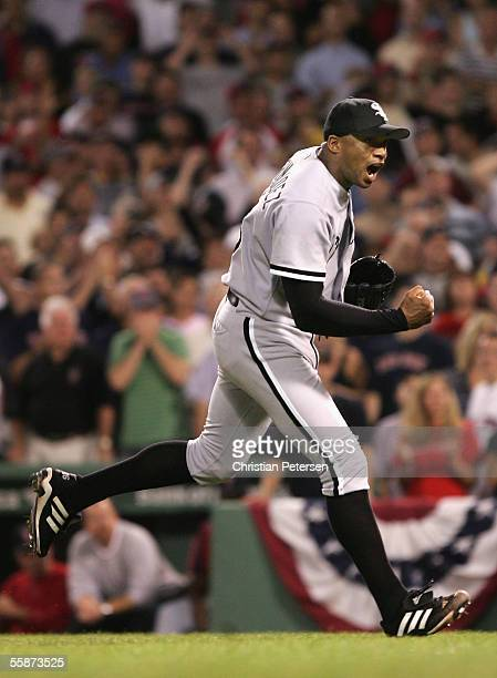 Pitcher Orlando Hernandez of the Chicago White Sox celebrates after striking out Johnny Damon of the Boston Red Sox to the end the inning with the...