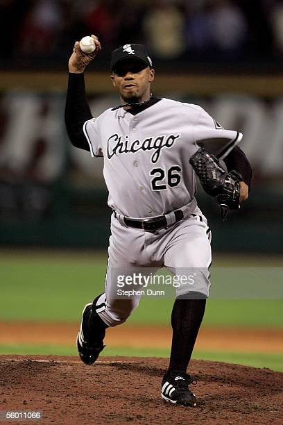 Pitcher Orlando Hernandez of the Chicago White Sox throws a pitch in the ninth inning against the Houston Astros during Game Three of the 2005 Major...