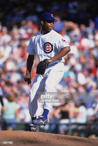Pitcher Pat Mahomes of the Chicago Cubs winds back to pitch during the game against the Houston Astros on June 12002 at Wrigley Field in Chicago...