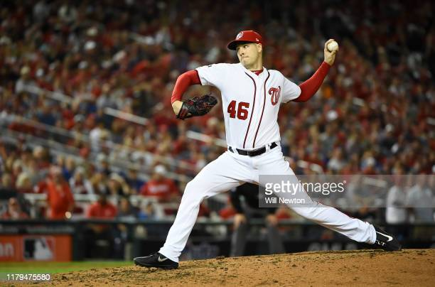 Pitcher Patrick Corbin of the Washington Nationals delivers in the sixth inning of Game 3 of the NLDS against the Los Angeles Dodgers at Nationals...