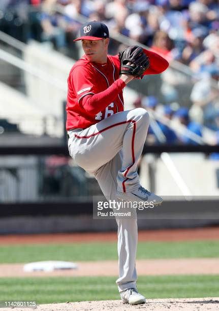 Pitcher Patrick Corbin of the Washington Nationals pitches in an MLB baseball game against the New York Mets on April 6 2019 at Citi Field in the...