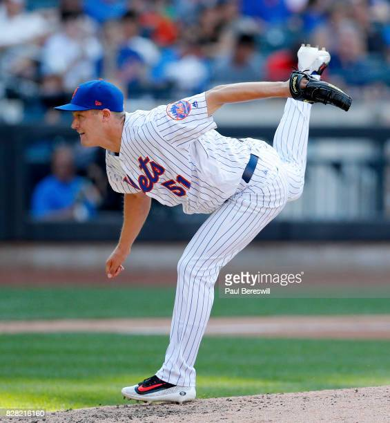 Pitcher Paul Sewald of the New York Mets pitches in an MLB baseball game against the Los Angeles Dodgers on August 5 2017 at CitiField in the Queens...