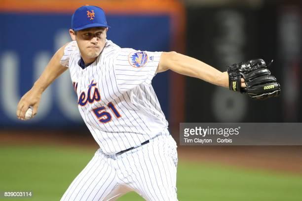 Pitcher Paul Sewald of the New York Mets pitching during the Arizona Diamondbacks Vs New York Mets regular season MLB game at Citi Field on August 23...