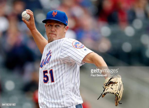 Pitcher Paul Sewald of the New York Mets throws first base during an MLB baseball game against the St Louis Cardinals on April 1 2018 at CitiField in...
