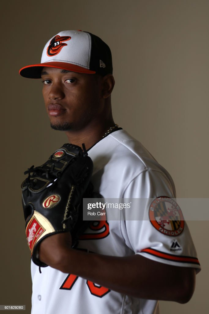 Pitcher Pedro Araujo poses for a photo during photo days at Ed Smith Stadium on February 20, 2018 in Sarasota, FL.