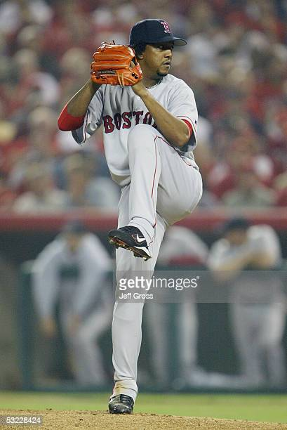 Pitcher Pedro Martinez of the Boston Red Sox delivers a pitch during the American League Division Series with the Anaheim Angels Game Two on October...