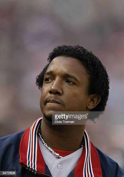 Pitcher Pedro Martinez of the Boston Red Sox in the dugout during the game against the Baltimore Orioles at Camden Yards on April 6 2004 in Baltimore...