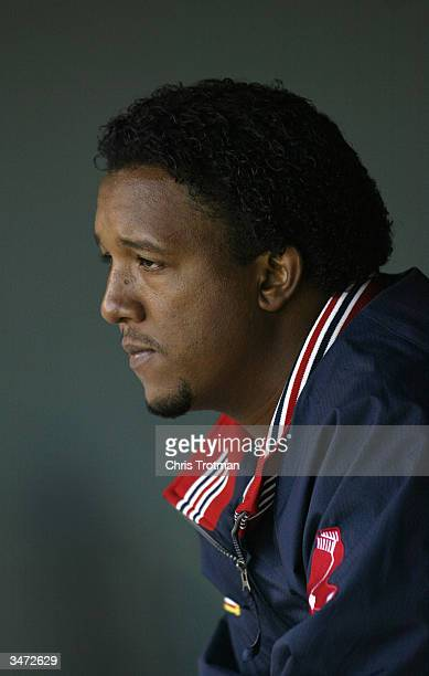 Pitcher Pedro Martinez of the Boston Red Sox in the dugout during the game against the Baltimore Orioles at Camden Yards on April 6, 2004 in...