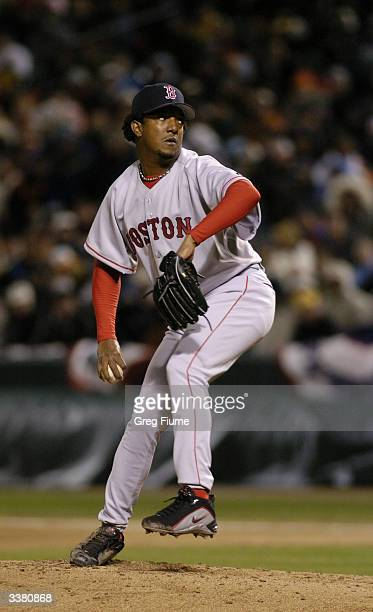 Pitcher Pedro Martinez of the Boston Red Sox on the mound during the game against the Baltimore Orioles on April 4 2004 at Camden Yards in Baltimore...