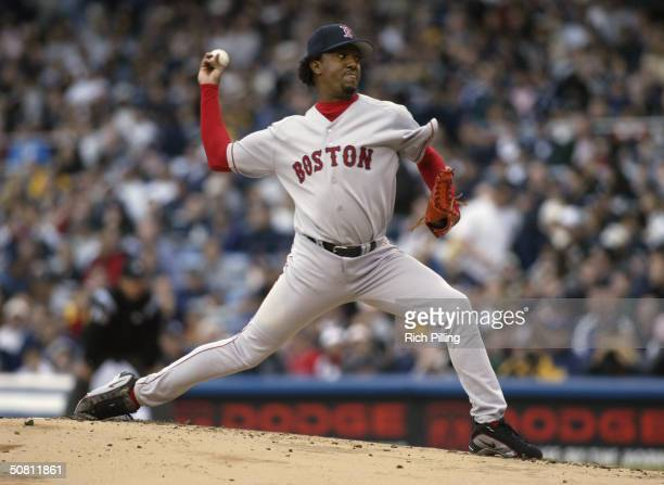 Pitcher Pedro Martinez of the Boston Red Sox on the mound during the game against the New York Yankees at Yankee Stadium on April 25 2004 in the...
